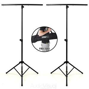 Pair Gorilla GLS-100 T-Bar Lighting Stand  Disco Stage Rig Lights inc Carry Bag