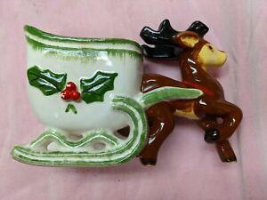Napco Sleigh & Reindeer Candy Dish Planter Mid Century Japan #k2223