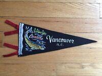 Vtg Vancouver British Columbia Mini Pennant Felt Banner 1960s Canada Souvenir BC