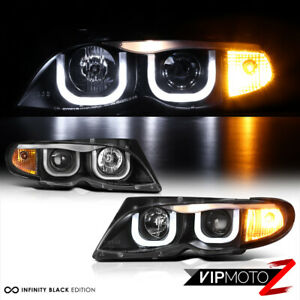 BMW E46 3-SERIES 325/330 Sedan Euro Black 3D U-Bar Halo Projector Headlight Lamp