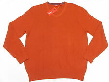 $55 NWT Mens Izod Solid Fine Gauge V-Neck Sweater Roobios Tea Orange Size S N336
