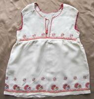1930s ANTIQUE FOLK ART HAND EMBROIDERED SILK CHILD DRESS