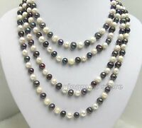"80"" Natural FreshWater 6-7mm White Black Pearl Necklace for Women Long Necklace"