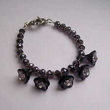New Purple Crystal Rondelle & Purple Glass Flower Bead Tibetan Silver Bracelet