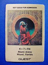 Grateful Dead Backstage Pass Miami Florida 4/7/1994 Blues For Allah Garris Art
