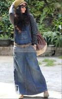 Hot Womens Fashion Washed Blue Overalls Jean Casual Loose Denim Skirt Jumpsuits