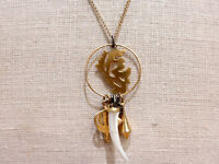 USA Made Wendy Mink New York 18K Gold Plated Silver Charm Pendant Necklace NWT
