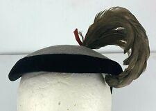 1940-50 Hat A Louise Original Fascinator Gray Black Felt Feather A Forman Co