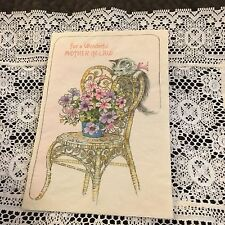Vintage Greeting Card Mothers Day Chair Flowers Cat Kitten