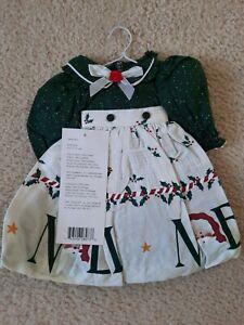 """Daisy Kingdom Doll Dress- Apron Dress-Holiday """"Noel Santa Clause"""" Cotton"""