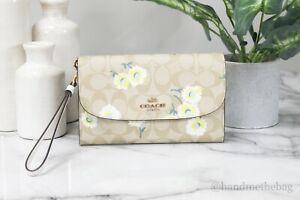 Coach C3052 Gemma Coated Canvas Leather Daisy Print Crossbody Bag Clutch Handbag