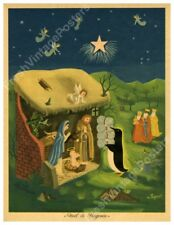1949 penguin at Christmas Nativity scene Raymond Peynet big fine art print 24x31