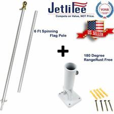 6 Ft Tangle Free Spinning Flagpole Gold Ball with Adjustable Wall Mount Kit