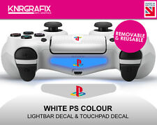 KNR2526 NEW White Dualshock 4 PS COLOUR Lightbar Decal + Touchpad Decal Classic