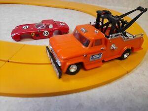 Vintage 1960s Ideal Motorific Slot Car Orange Tow Truck, Red Ferrari & Track!