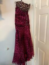 Full length Wedding DRESS in black and dark pink.w/bra cup.Single shoulder strap