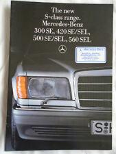 Mercedes Clase S FOLLETO Nov 1985 300SE, 420SEL, 500SEL, 560 Sel