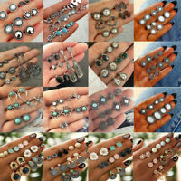 12Pairs/Set 925 Silver Turquoise Gemstone Bohemia Moonstone Earrings Jewelry
