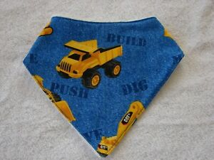 Diggers & Trucks Blue Bandana Dribble Bibs Cotton Front Towelling Back Handmade