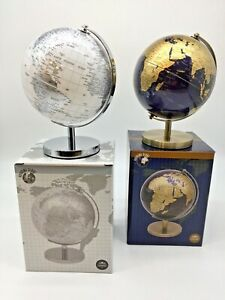 World Globe  Metal Base Modern Look Display Desk Top Silver Blue Gold Small New
