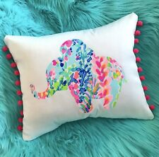 New Elephant pillow made with LILLY PULITZER Multi Catch The Wave fabric