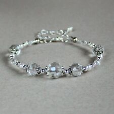 Vintage clear crystals white pearls bracelet wedding bridesmaid bridal accessory