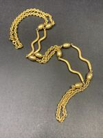 """Signed Monet Gold Nice Quality Beaded  Unusual Link Chain Link Necklace 34"""""""