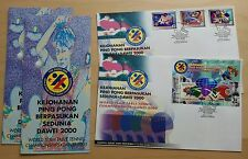 2000 Malaysia Sports Table Tennis DAWEI, 3v Stamps & MS on 2 FDC (KL Cachet)