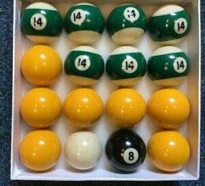 "2"" league Pool ball set ;7 yellow + 7 x no14 ball ,8 ball + 1 7/8"" cue ball"
