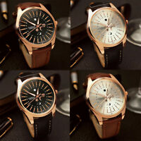 Men's Fashion Casual Stainless Steel Case Leather Band Quartz Analog Wrist Watch