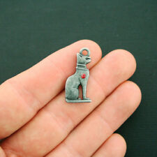 4 Egyptian Cat Charms Antique Gunmetal Tone With Red Rhinestone 2 Sided - BC1591