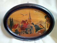 Painting Pyrography Antique Signed Boli Decoration Alsace Under Glass