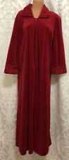 Diamond Tea Red Long Velour Warm Robe Sz.M Floral Collar Cuffs Dressing Gown