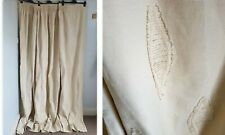 """Huge Heavy Natural Neutral Cotton Rustic Leaf Lined Curtains 106""""W x 83"""" L"""