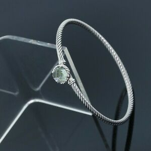 David Yurman Sterling Silver Prasiolite 3mm Cable Chatelaine Bangle Bracelet