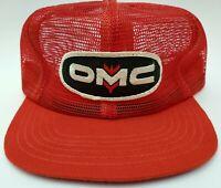 Vintage Full Mesh Snapback Trucker Patch Red Hat OMC Farmer Equipment Cap
