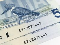 1986 2 Consecutive Canada 5 Dollars EPY Prefix Uncirculated Banknote Five I778