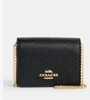 Coach Mini Wallet On A Chain C0059 Black Leather