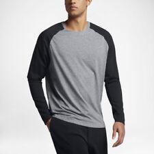 NEW Nike Sportswear Bonded Long Sleeve Crew Shirt Mens Gray Black 832206 091 $80
