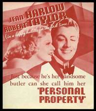 PERSONAL PROPERTY Movie POSTER 30x30 Robert Taylor Jean Harlow Reginald Owen Una