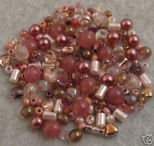 200+ VINTAGE DUSTY ROSE GLASS BEADS COLLECTION LUSTER LOT