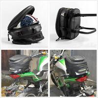 PU leather + Carbon Fiber Fabric Motorcycle Back Seat Helmet Luggage Storage Bag