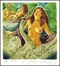 Kirnitskiy Sergey 1999 Exlibris C4 Mythology Leda and Swan Erotic Nude Bird 13