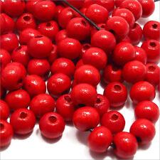 Lot de 100 perles rondes en Bois 8mm Rouge pour Bijoux attache tétine chapelets
