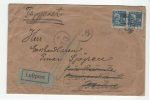 SWEDEN: Early airmail cover Stockholm to Germany 1920, Arr.canc. scarce.
