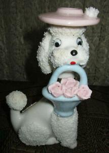 1950s Ceramic Sugar Snow French Poodle Dog Perfume Lamp Night Light