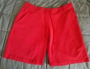 Danskin Now Red Cotton Athletic Shorts Drawstring Pockets L 12-14