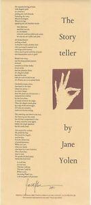 Jane Yolen Signed Limited Edition Poetry Broadside - 'The Story Teller' a Poem