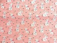 NEW PolyCotton Fabric Small PUG DOG Pink METRE Reduced Prices