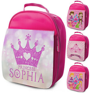 Personalised Lunch Bag Girls Princess School Bag Kids Insulated Childrens Cooler